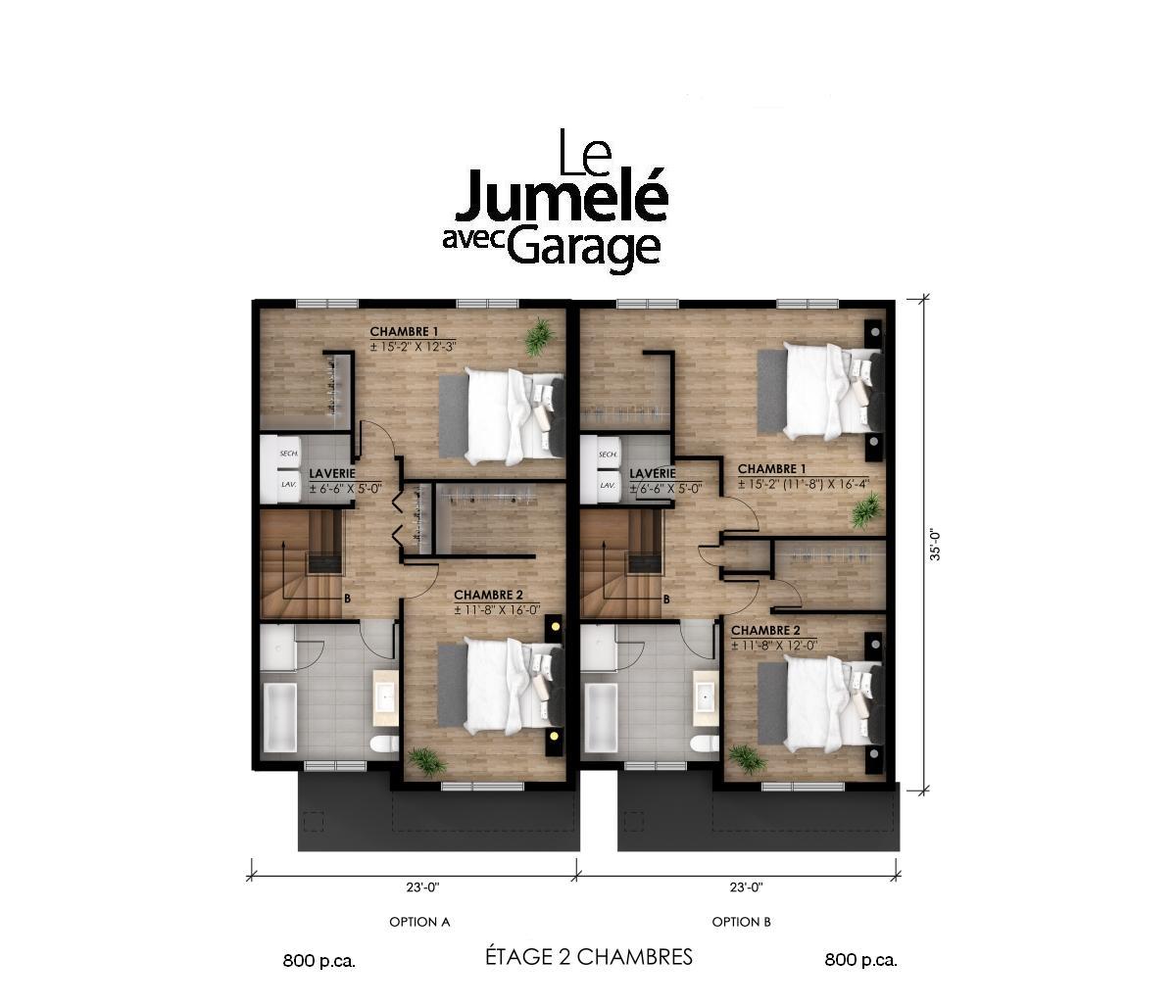 plan garage étage 2 ch. pi2